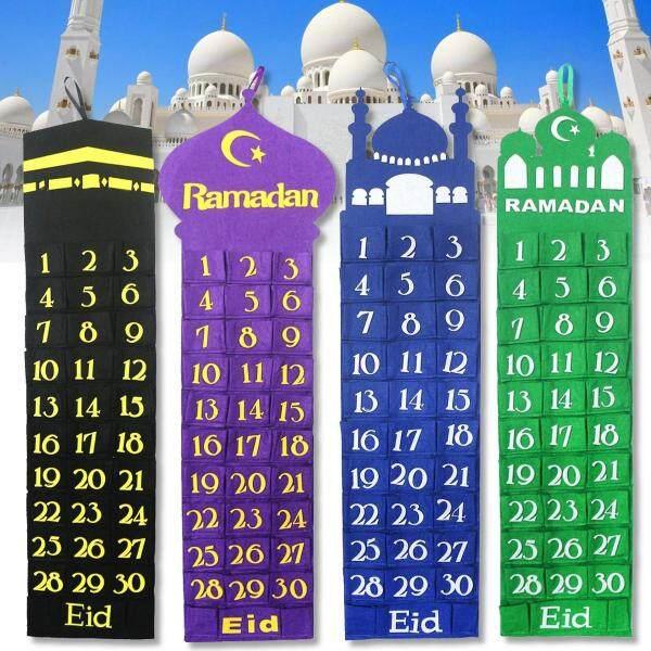 Mua Nhà Thờ Hồi Giáo Nỉ Eid Mubarak Ramadan Kareem Lịch Đếm Ngược Hiện Tại Cho Trẻ Em-Màu Xanh
