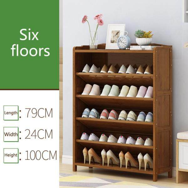 RuYiYu - 79x24x100cm 6-Layer Bevel Shoe Rack, Solid Bamboo, Simple Storage Tower Cabinet, Hallway Bamboo Organizer, Space Saving Versatile