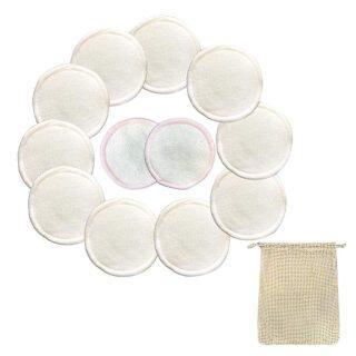 12 Đĩa Tẩy Trang Mềm Tái Sử Dụng, Chất Lượng Cao, Cotton Tự Nhiên Với Rửa Túi Miếng Bông Khăn Lau thumbnail
