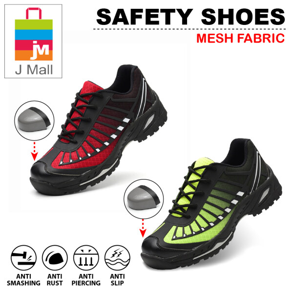 Q MALL MESH SAFETY SHOES Steel Toe Cap Mid Sole Medium Cut Fashion Unisex Shoes - 528 (RED/GREEN)