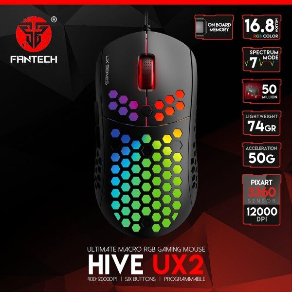 FANTECH UX2 HIVE Gaming Mouse Lightweight Honeycomb Shell 74G And PIXART 3360 500 To 12000 DPI RGB Marco Mouse For PC Gaming Gamer Malaysia