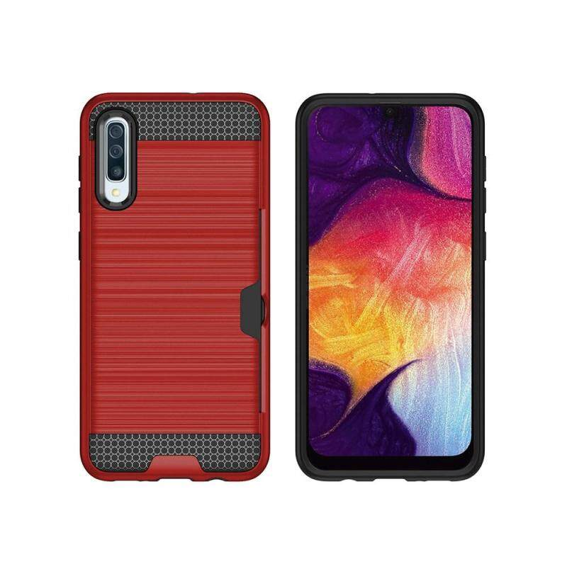 Giá Maxlaber Case For Samsung Galaxy A50 Soft TPU + PC Hybrid Carbon Fiber Wiredrawing Grain Shockproof Dual Layer Protective Phone Case With Card Slots