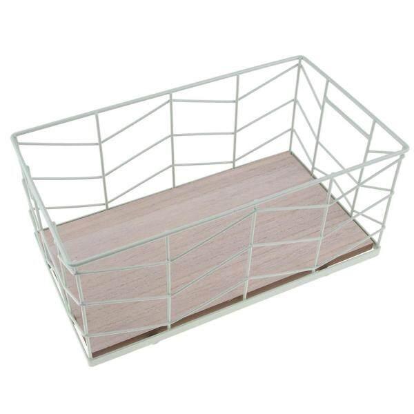 Perfk Durable Vintage Sauqre Wire Metal Basket Fruit Vegetable Toiletries Storage