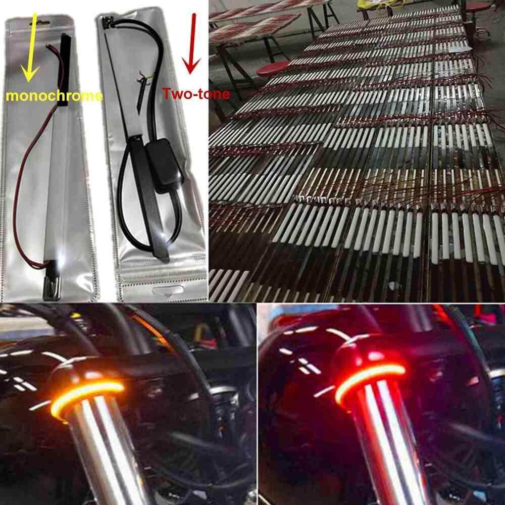 Image 3 for วัตสันรถจักรยานยนต์สัญญาณเลี้ยว LED รถด้านหน้าส้อมตัวหน่วงการสั่นสะเทือน 2 สีไลท์ไกด์แหวนสไตล์สากล