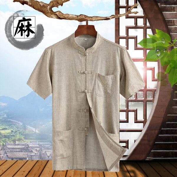 Gió Trung Quốc Lanh Tangzhuang Ngắn Tay Mùa Hè Băng Lụa Cotton Nam CHA Mùa Hè Vào Trung Quốc Hanfu Tay Áo Trong Áo Khoác Nam