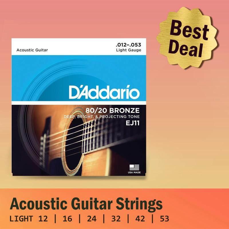 [USA MADE & Original] DAddario EJ11 80/20 Bronze Acoustic Guitar Strings (Light) Malaysia