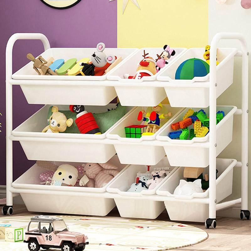 RuYiYu - Kids Toy Organizer and Storage Bins with Pulley/Universal Wheels, 9 Bins in Fun Colors, Toy Storage Rack, Steel Pipe Frame
