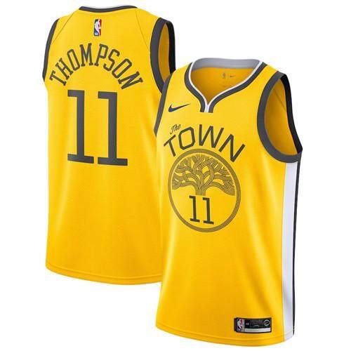 Nike Asli Pria Penjualan Global Golden State Warriors Klay Thompson 11  Kuning 2018 19 Swingman cfa7b890f2