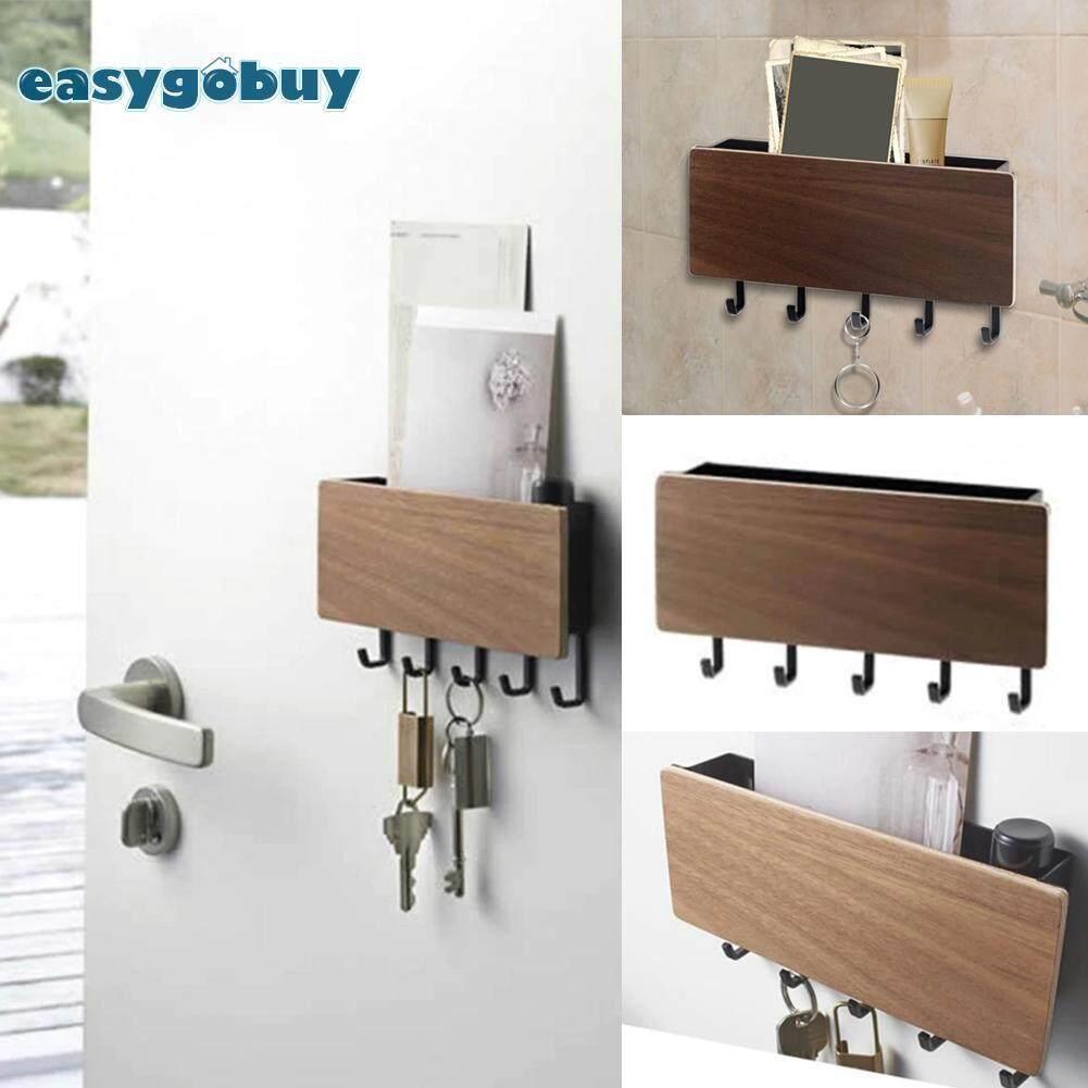 Wood Decorative Wall Hanging Shelf Key Rack Sundries Storage Box Organizer