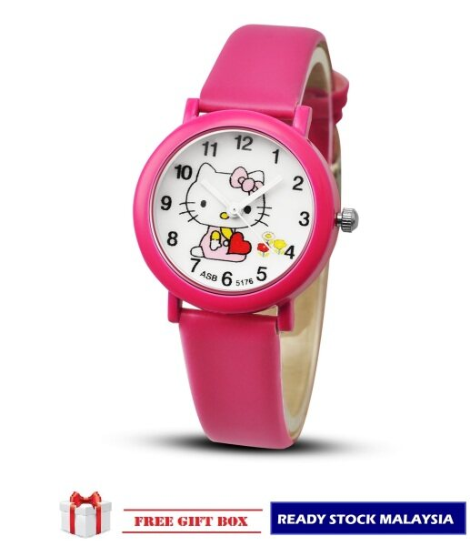 ASE Ready Stock Jam Tangan Kanak-Kanak Kids/Childrens Sport and Casual Hello Kitty Analog Watches + Watch Box Best Gift Jam Tangan Malaysia