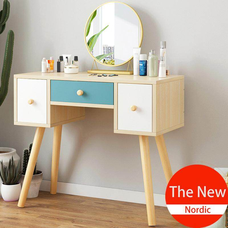Dressing Table with Round Mirror, Solid Wood, European Bedroom Dressing Table, Princess Makeup Cabinet Luxury Flip Small Dressing Table