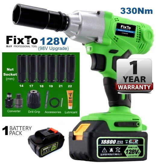 FixTo 330Nm High Torque Professional 128V Cordless Impact Wrench Drill 1/2 inch