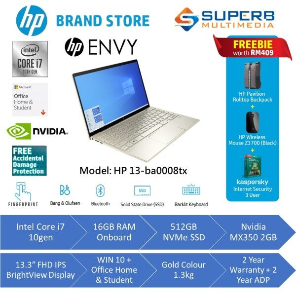 HP ENVY Laptop - 13-ba0008tx (Intel Core i7, 16GB Ram, 512GB SSD, Nvidia MX350 2GB, 2Yrs ADP, Win10, OPI, Gold) Malaysia