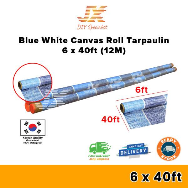 SUNTUF Blue White Canvas Roll Tarpaulin 6ft x 100yard(91M) / Kanvas Biru Putih