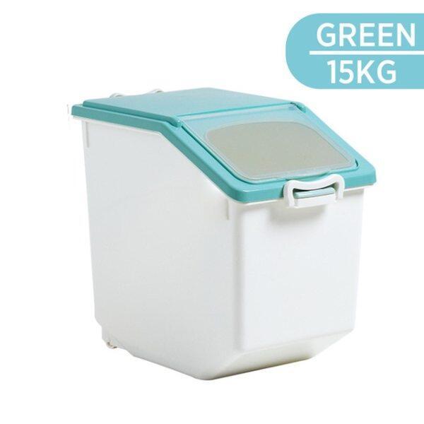 Hộp Nhựa Đựng Hạt Gạo 10-15Kg, Hộp Đựng Thức Ăn Nhà Bếp Cho Thú Cưng Lớn Chống Bụi Chống Ẩm Kín