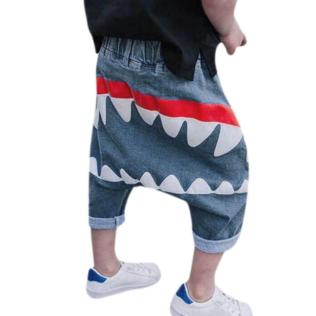 Toddler Infant Kids Baby Boy Girl Cartoon Shark Harem Jeans Denim Pants Trousers