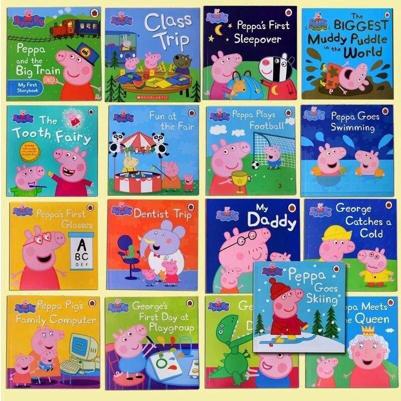 20 Books/set with 2 CD Baby Peppa Pig English Story Coloring Books Early Learning Reading Cognition Book Set for Kids Children Educational Gifts