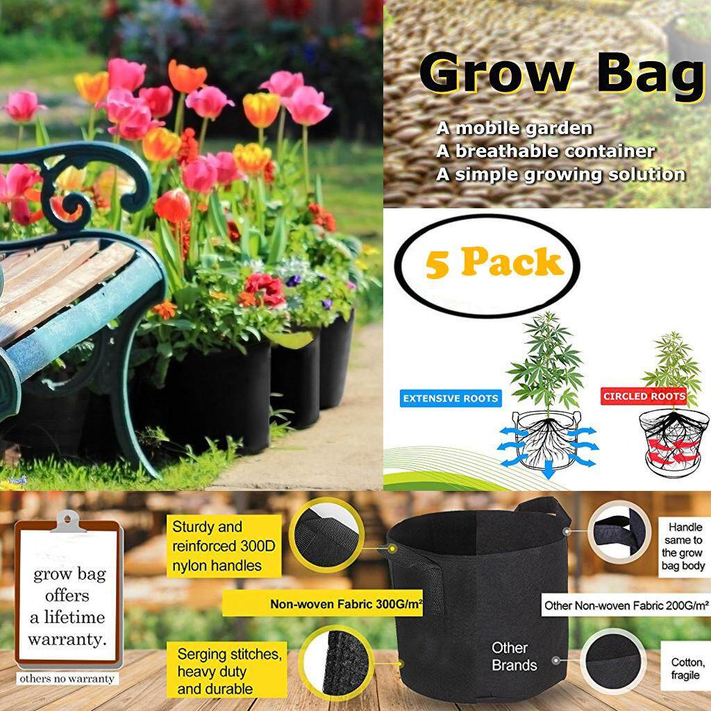 Malonestore 5 Gallon Grow Bags Aeration Fabric Pots w/Handles for Nursery Garden 5 Pack