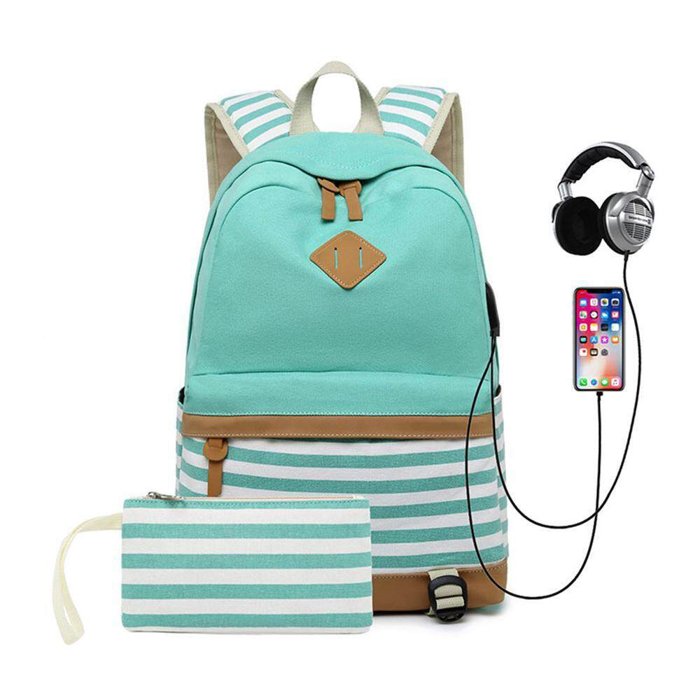 Kobwa Canvas Backpack Travel Womens Laptop Backpack With Usb Charging Port 15.6 Inch Casual Daypack Teen Girls With Small Bag By Kobwa Direct.