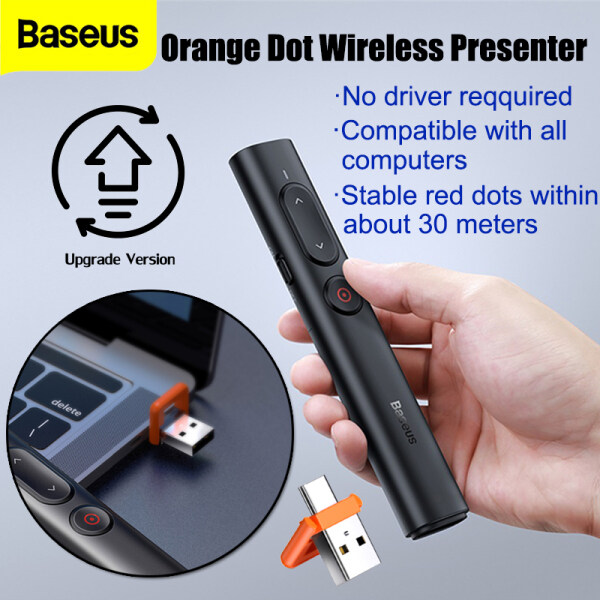 Baseus Orange Dot PPT Wireless Presenter 2.4GHz Bluetooth Pointer USB Type-C Dual Interface Remote Controller PPT Pen for Projector Office Working Tool Meeting Accessory
