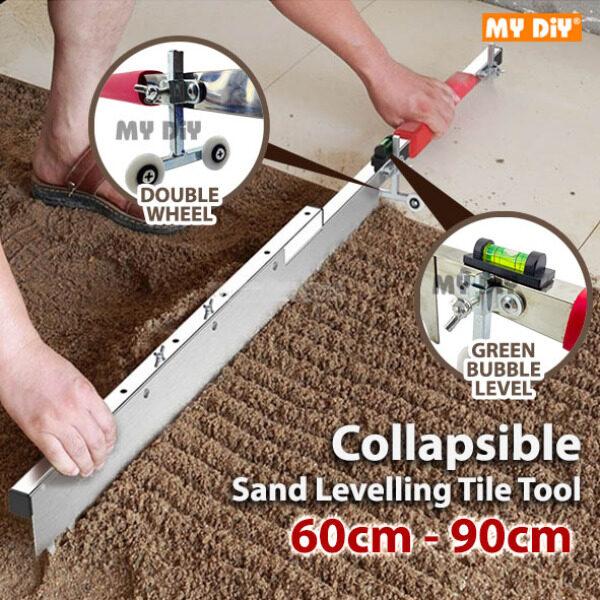 MYDIY Online2u - Tile Flat Ash Device Plaster Tile Tool Can Be Adjusted Multifunctional Sand Levelling Tile Tool Artifact Collapsible 60cm-90cm / Tile Paving Tile Flat Ash Tool Cement Rake