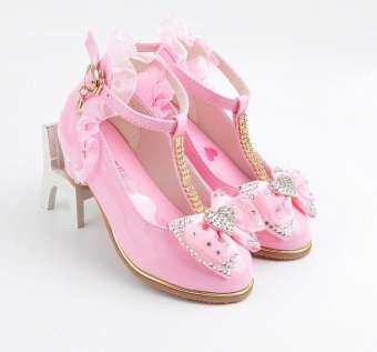 รองเท้าเด็กหญิง 2019 ใหม่ฤดูใบไม้ผลิและฤดูใบไม้ร่วงเด็กผู้หญิงส้นสูงรองเท้าหนังสไตล์เกาหลีรองเท้าสไตล์เจ้าหญิงเด็กหุ้มข้อสูง T-รองเท้าส้นสูง