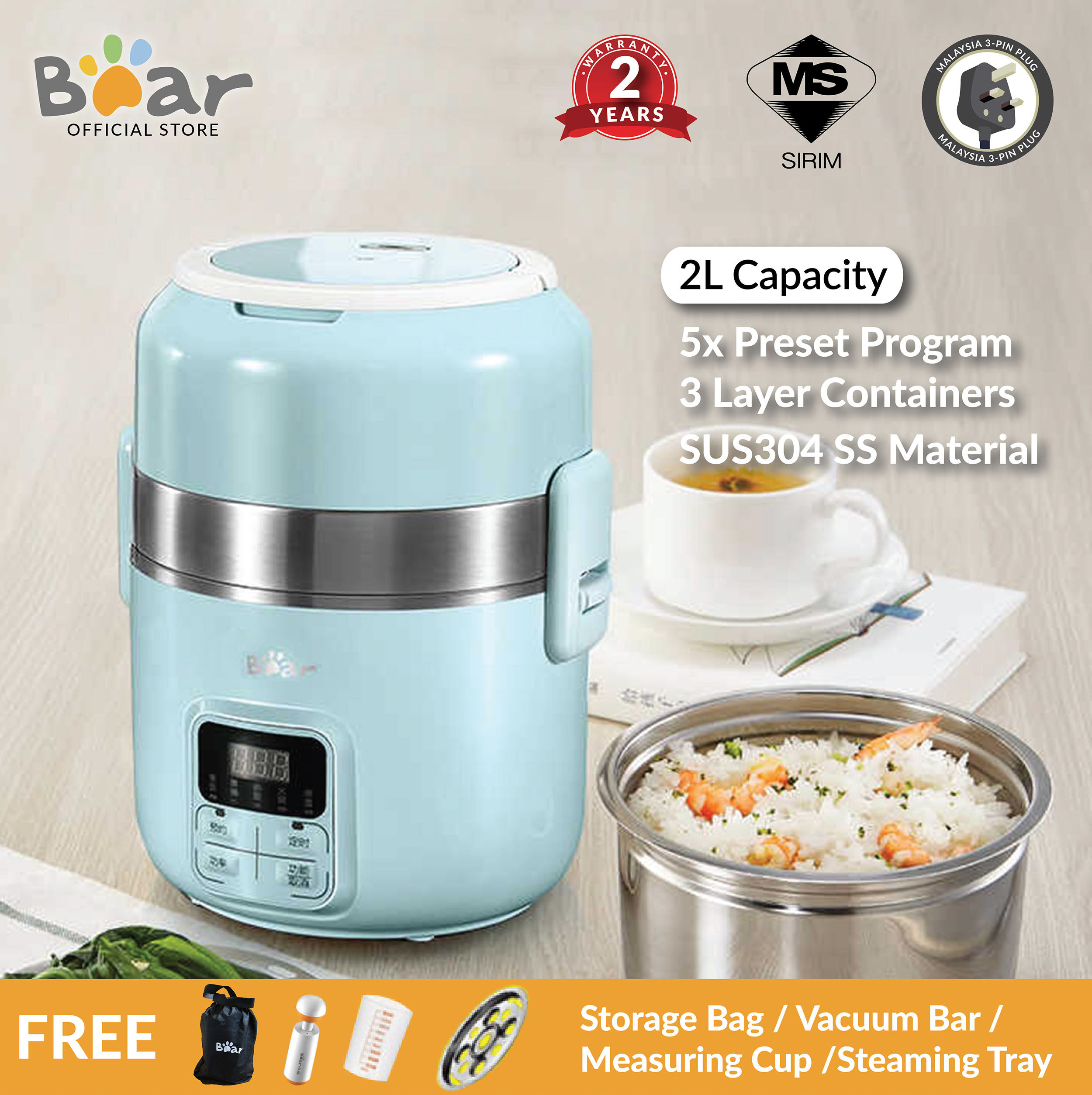 110V 2L Food Warmer Box Electric Heating Lunch Container Bento 3 Tier Portable