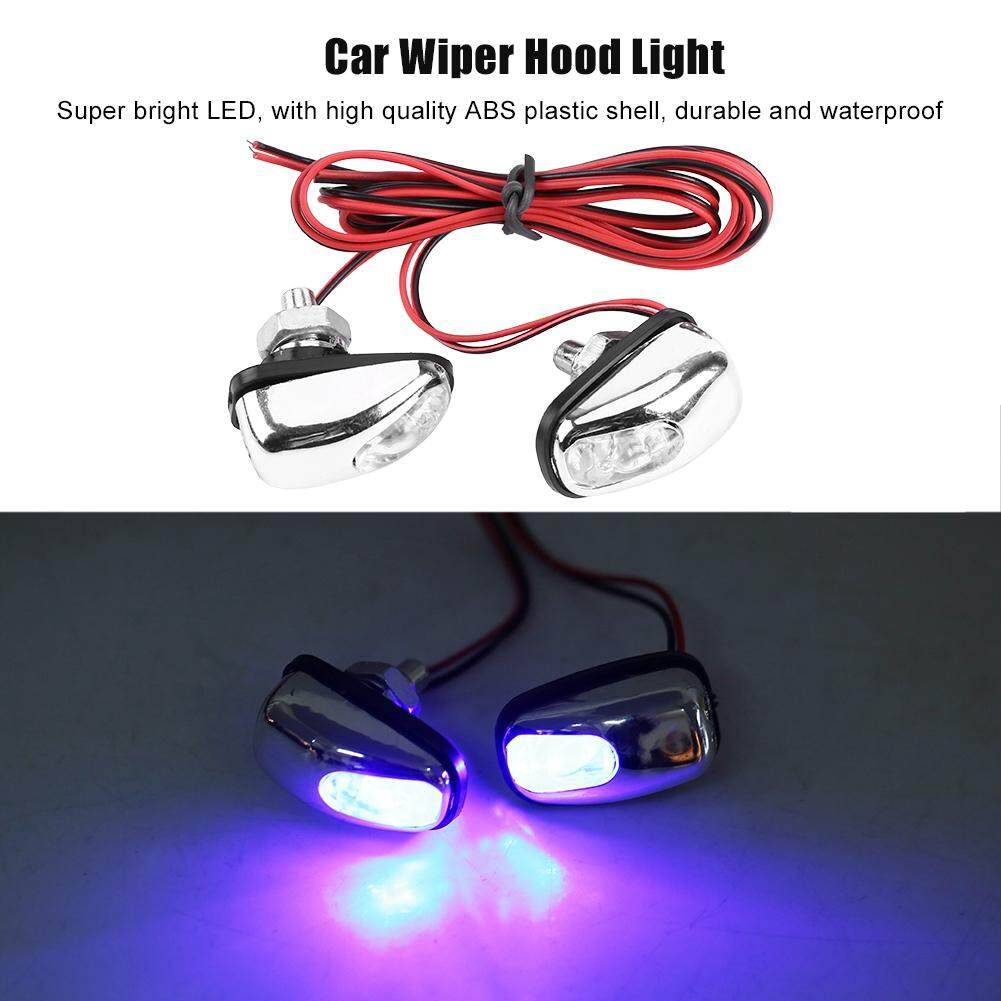 pair of car led light wiper hood windshield water spray nozzle washer lamp  12v
