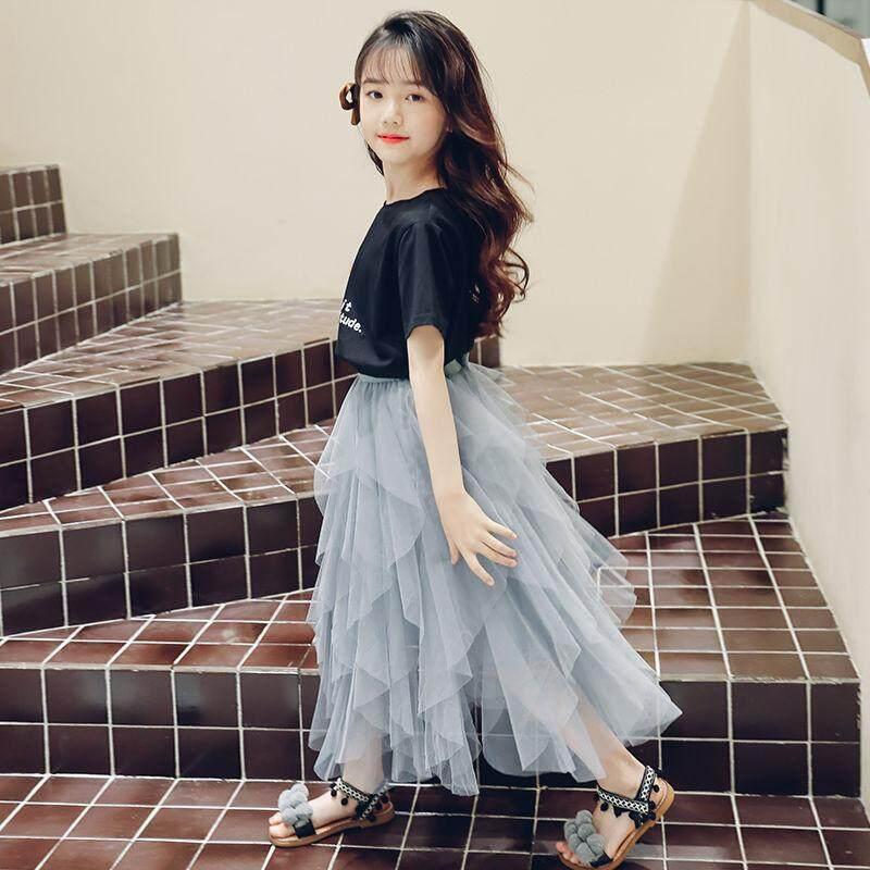 Giá bán Nữ Sinh Không Phù Hợp Với Váy Mùa Hè 2019 Trẻ Em Mới Của Một Nửa Chiều Dài Váy Công Chúa Sợi Váy Mùa Hè 2 Bộ