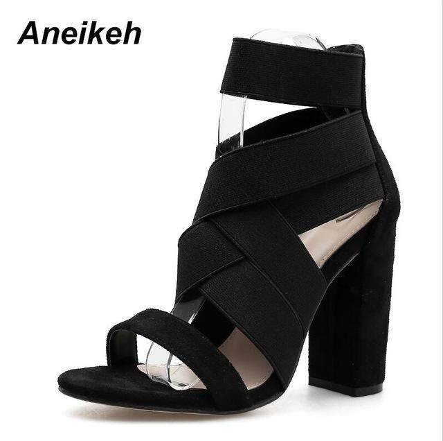 1d270636d6f Aneikeh 2019 Gladiator Sandals Fashion Women Sandals High Heels Open toe Ankle  Strap Elastic band Shoes