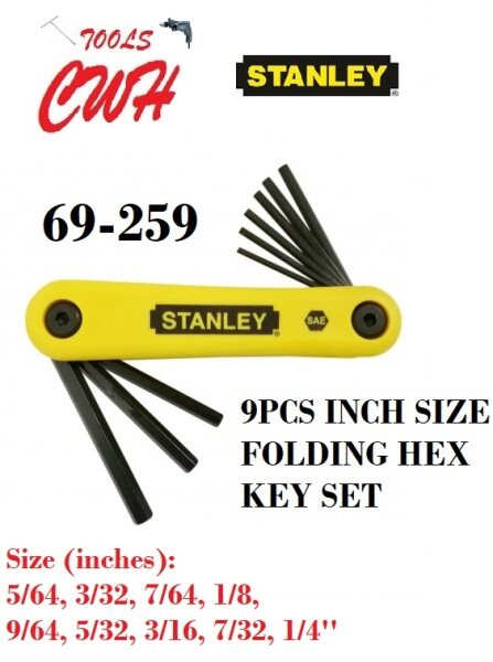 STANLEY 69-259 9PCS INCHES INCH SIZE FOLDING ALLEN KEY HEX KEY SET L WRENCH DRIVER 69259