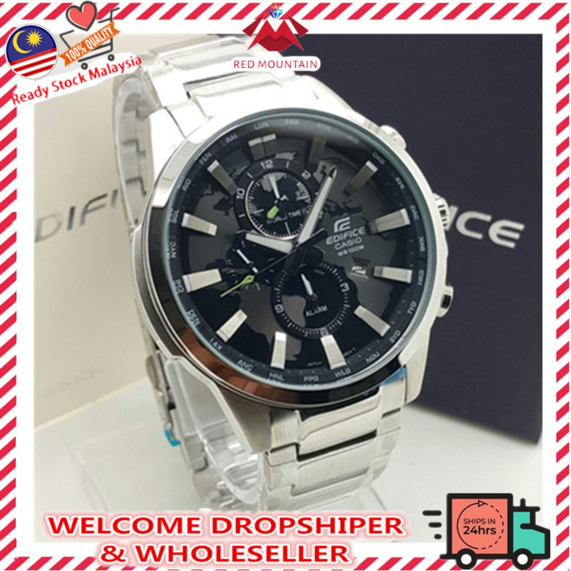 Casio_Edifice EFR 303 Series All Function Fashion Men Leather / Stainless Steel Watch Malaysia