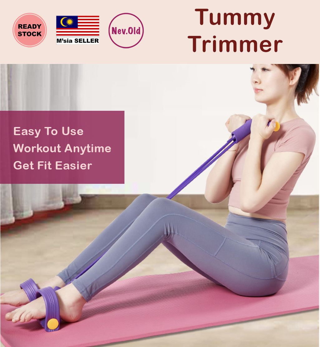 MSIA STOCK 4 tube Tummy Trimmer Sit Up Sport Equipment Fitness Fat Burner  Workout Abs Fitness Rubber Gym 减肥神器 拉力器 瘦身 | Lazada