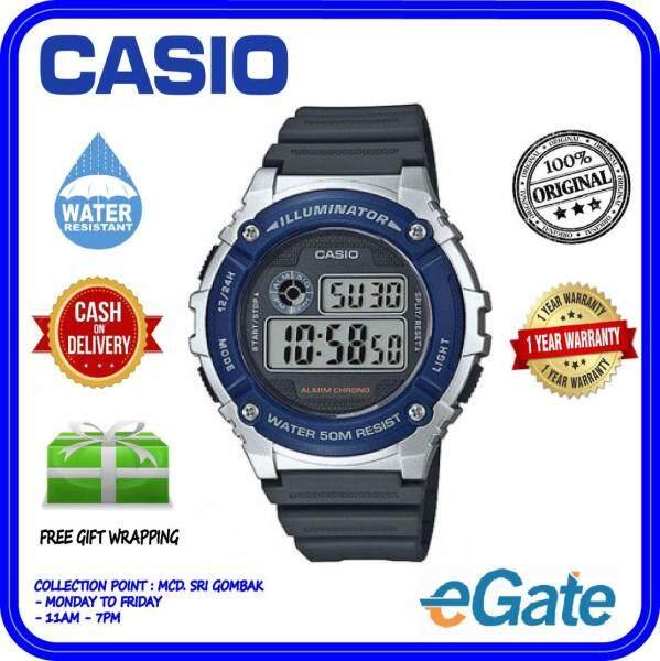 (2 YEARS WARRANTY) Casio W-216H-2A Men Digital Classic Black Resin Strap Silver Case Original Sporty Watch (W-216H) Malaysia