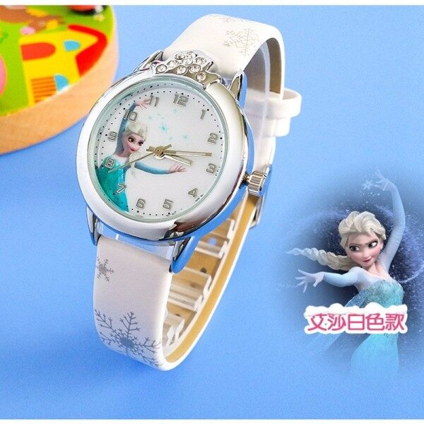 Bounabay Princess Pattern Children Watch Fashion Crystal Cartoon Leather Strap Quartz Wristwatch Casual Girls Kids Clock Malaysia