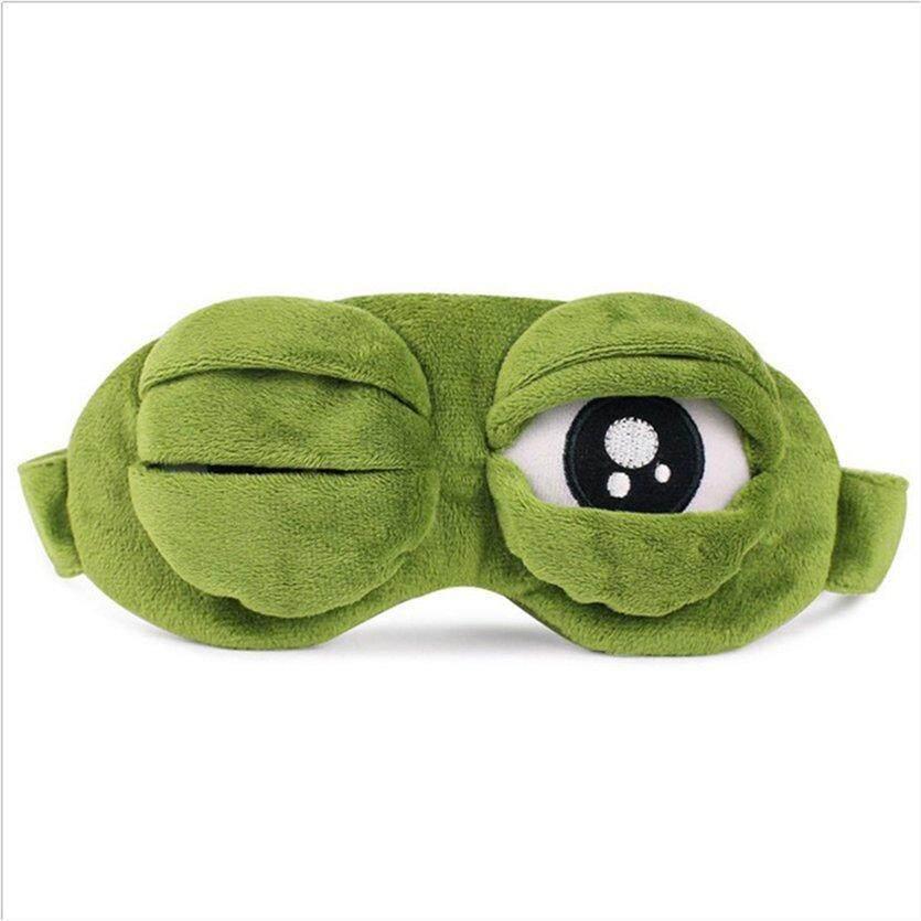 Funny Creative Pepe The Frog Sad Frog 3d Eye Mask Cover Cartoon Plush Sleeping Mask Cute Anime Gift Men's Earmuffs