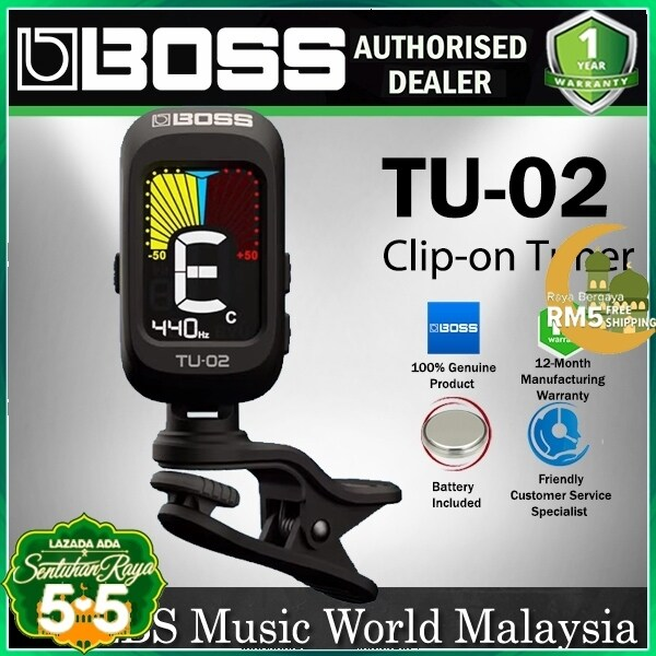 Boss TU-02 Clip On Chromatic Tuner For Electric Guitar Bass Ukulele Tuning (TU02) Malaysia
