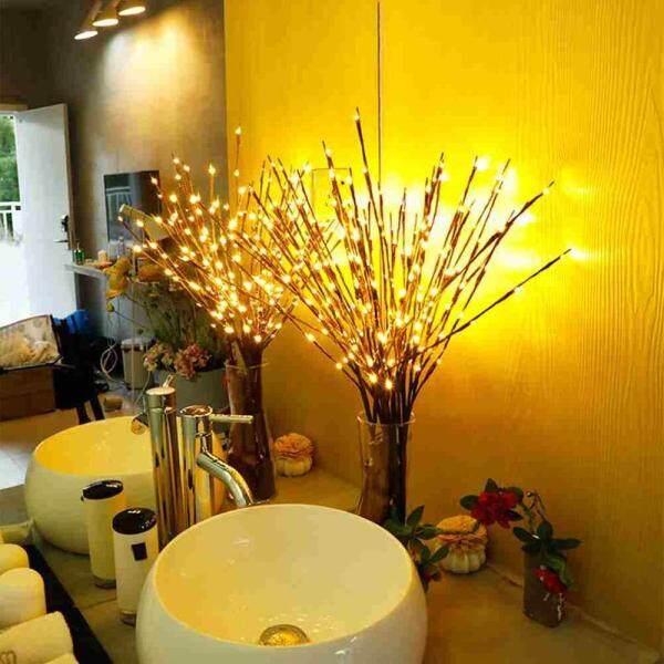 Wilk LED Mô Phỏng Nhánh cây Giáng Sinh Đèn ĐÈN LED 20 BÓNG Đảng Phòng Ngủ Để Bàn Trang Trí đèn Led Chiếu Sáng Pin Tiên Đèn