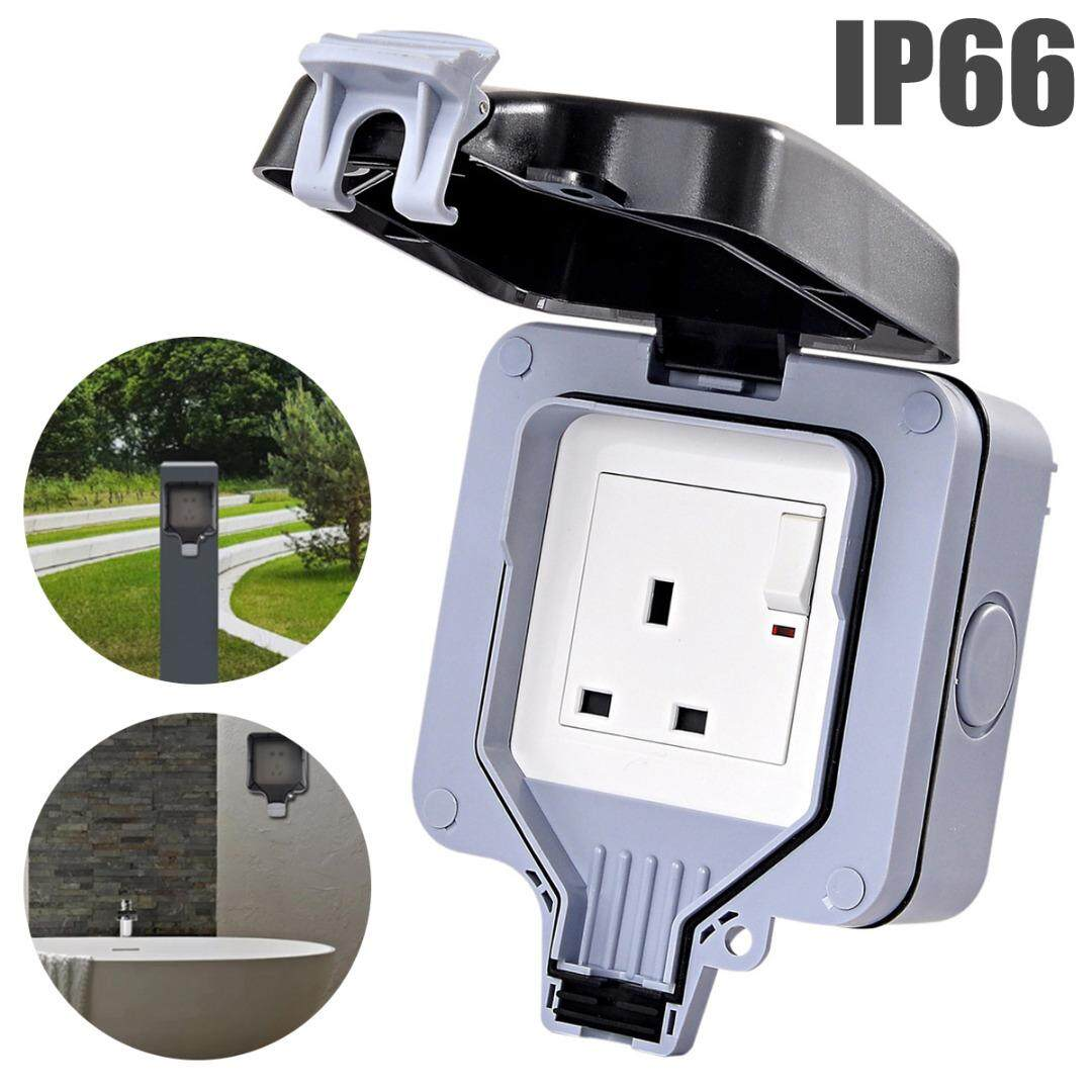 Idealworld Waterproof 13A Storm Outdoor Switched Single Socket IP66 Outside UK Plug