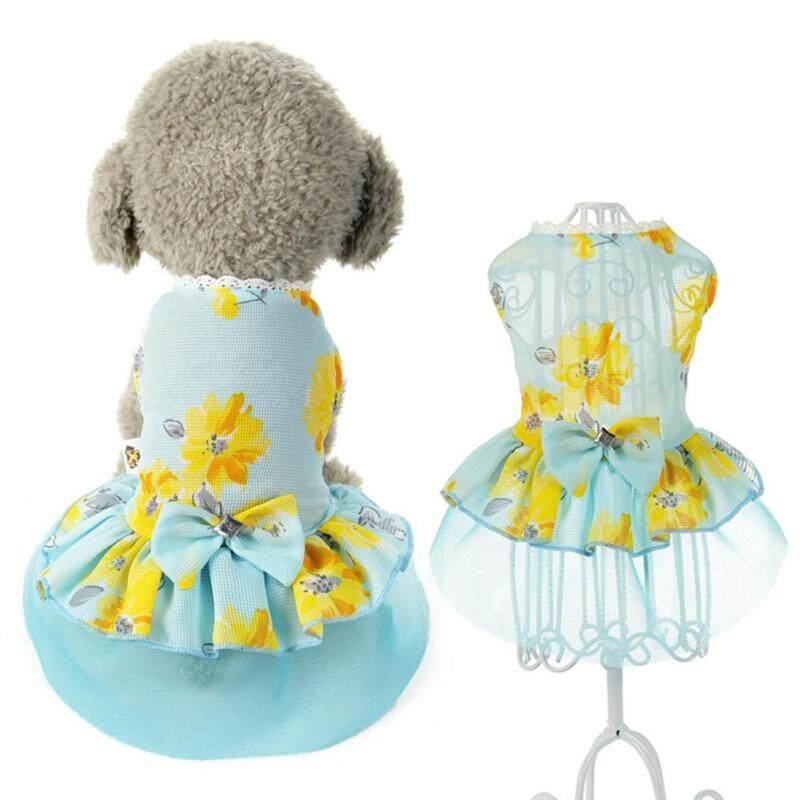 Fuwen®Nữ Dog Dress Hoa In Ren Bow Gạc Chắp Vá Không Tay Pet Quần Áo Màu Xanh
