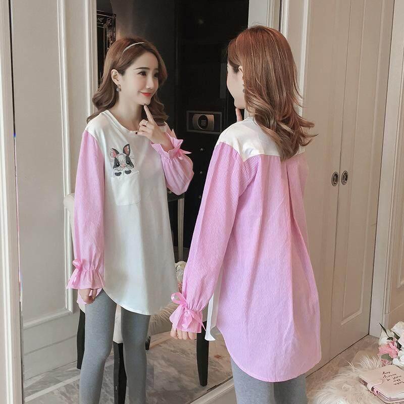 9b4e811eab816 Korean Pregnant Women T-shirt Maternity Top Striped Stitching Blouse
