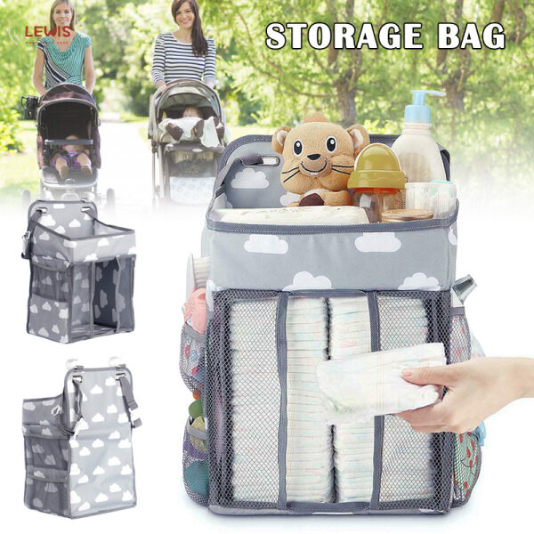 Lewis【Hot sale】 Baby Stroller Hanging Nursery Organizer Multifunctional Diaper Storage Bag Baby Diaper Organizer 【within 48 hours】