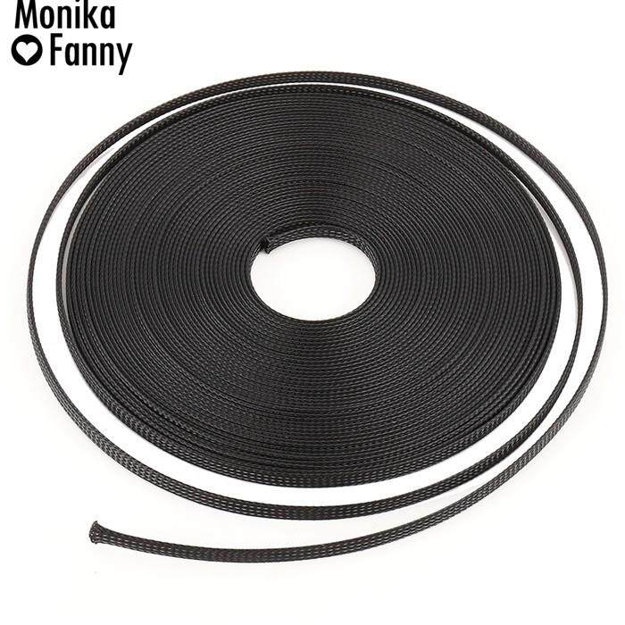 50 FT 1/4 Black Expandable Wire Cable Sleeving Sheathing Braided Loom