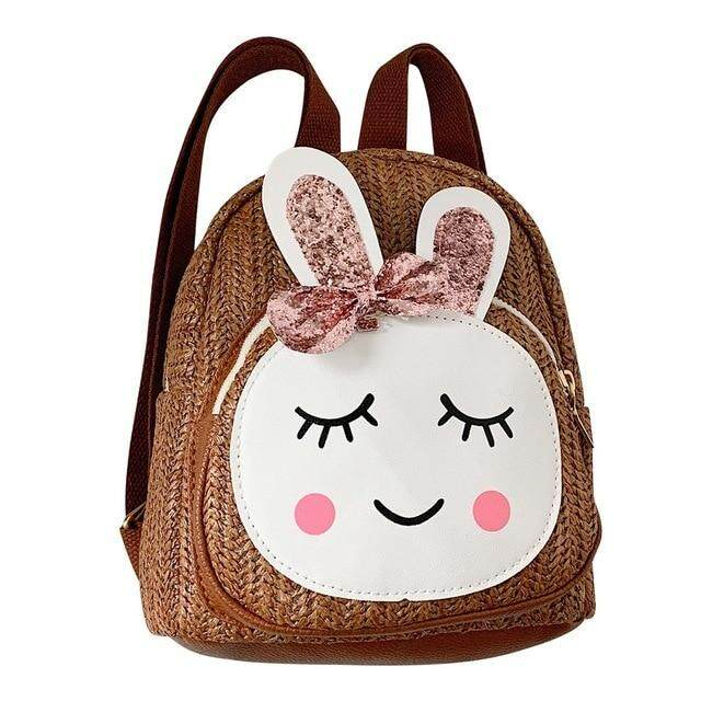 shirong INSULAR 2019 Children Kids School Bag Fashion Girls Rabbit Straw Shoulder Backpack Sweet Home Casual Bags #45