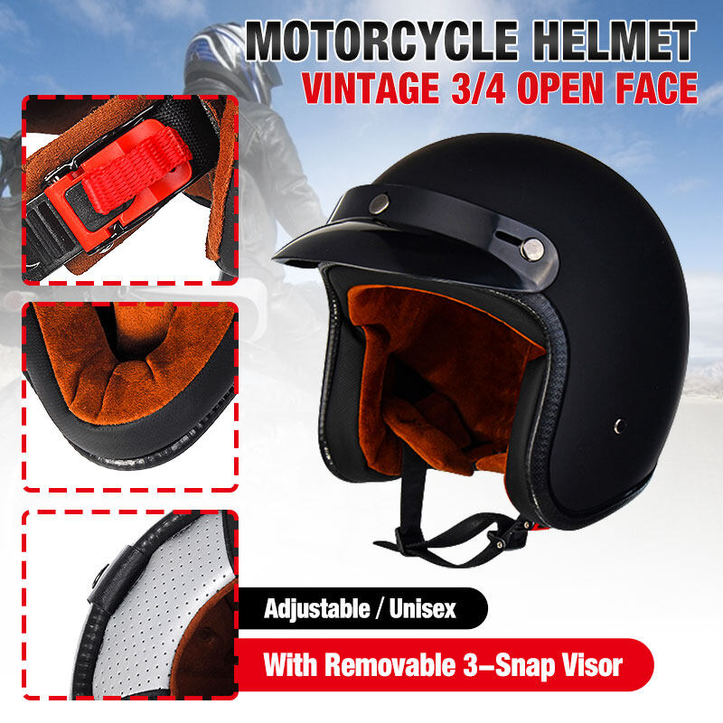 【2020 New】(BLACK-M/L/XL)Vintage 3/4 Open Face Motorcycle Helmet Adjustable Light-weight Helmet With Removable 3-Snap Visor For Harley Chopper Cruiser Motorbike Bike Scooter