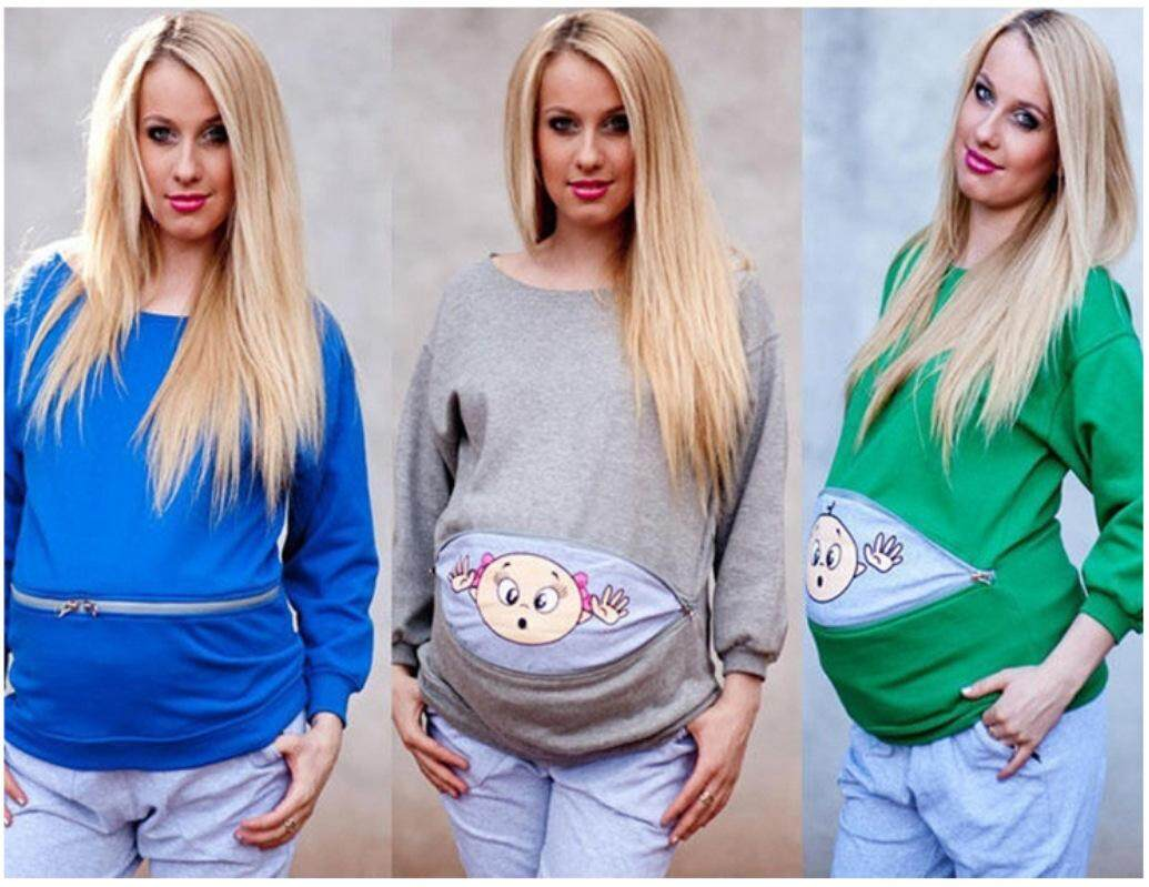 New Fashion Autumn Cartoon Solid Color Pregnant Womens Long Sleeve Sweater By Ruidiandian.