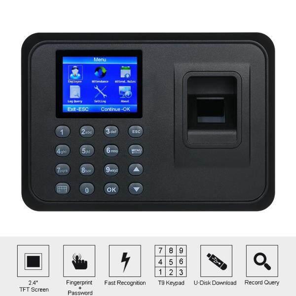 Biometric Fingerprint Attendance Machine Software-free 2.4 TFT LCD Display USB Employee Checking-in Reader Time Clock Recorder Spanish Version DC 5V/1A US Plug