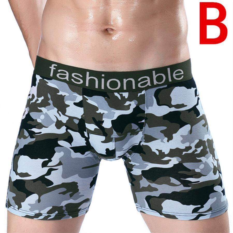 Pria Olahraga Panjang Kamuflase Cotton Boxer Celana Dalam U Convex Anti-Wear Kaki Lima Celana Celana Renang Batang By Fothers.