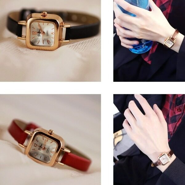 [FAST SHIPPING][LOCAL SELLER] Watch For Women New Fashion Design 20mm Small And Exquisite Women Ladies Student Simple Casual Square Dial Analog Leather Strap Quartz Wrist Watches Jam Tangan Wanita Malaysia