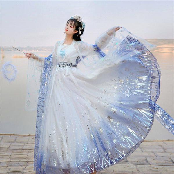 Mực Mưa Và Mây Hán Phục Chính Hãng [Whitehead Yin] Hanfu Bộ Váy Sáu Mét Ngực Chính Hãng Cho Nữ